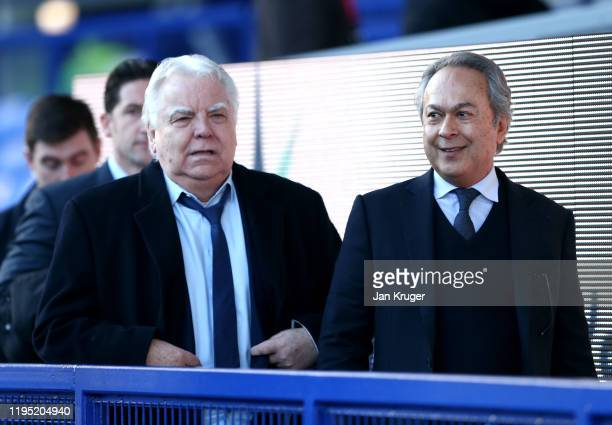 Everton FC owner Farhad Moshiri and Everton FC Bill Kenwright arrive at the stadium prior to the Premier League match between Everton FC and Arsenal...
