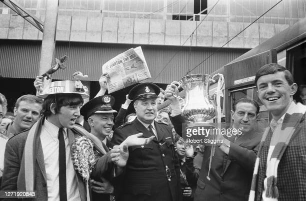Everton FC return home with the FA Cup after their win against Sheffield Wednesday in the final at Wembley, UK, May 1966. Team manager Harry...