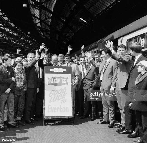 Everton football team at Lime Street station as they leave for Wembley to take part in the FA Cup Final against Sheffield Wednesday 13th May 1966