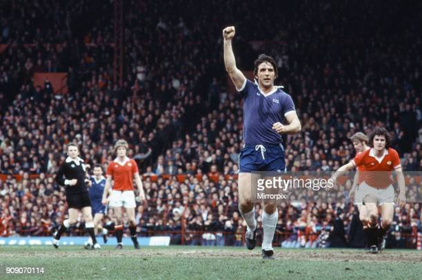 Everton footballer Bob Latchford in action during the League Division One match against Manchester United at Old Trafford. Latchford scored both...