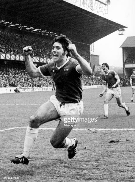 Everton forward Bob Latchford celebrates after scoring his 30th goal of the season in the 6-0 win over Chelsea at Goodison Park, 29th April 1978. Bob...