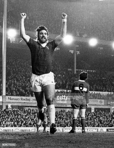 Everton forward Bob Latchford celebrates after scoring the opening goal during the League Division One match against Middlesbrough at Goodison Park....