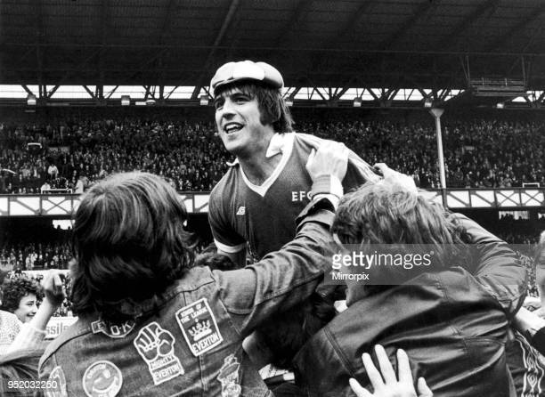 Everton forward Bob Latchford mobbed by jubilant fans after scoring his 30th goal of the seaon in the 60 win over Chelsea at Goodison Park 29th April...