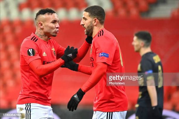Everton forward of Benfica celebrates with Adel Taarabt midfielder of Benfica after scoring during the UEFA Europa League Group D match between Royal...