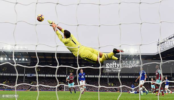 Everton goalkeeper Joel Robles makes an acrobatic save during the Premier League match between Everton and West Ham United at Goodison Park on...