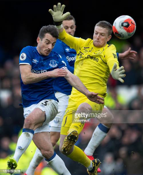 Everton goalkeeper Jordan Pickford and team mate Leighton Baines in action during the Premier League match between Everton FC and Manchester United...