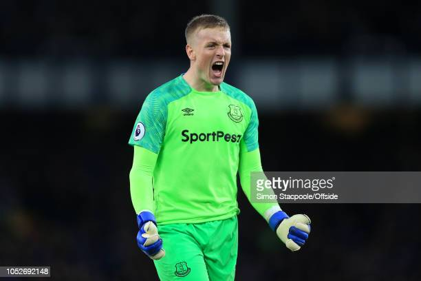 Everton goalkeeper Jordan Pickford celebrates during the Premier League match between Everton and Crystal Palace at Goodison Park on October 21 2018...