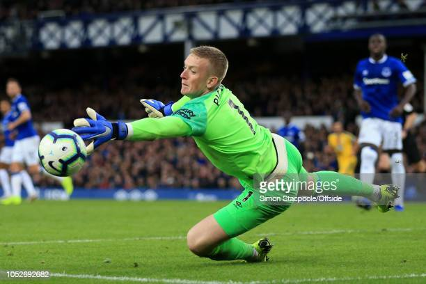 Everton goalkeeper Jordan Pickford dives for the ball during the Premier League match between Everton and Crystal Palace at Goodison Park on October...