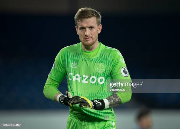 Everton goalkeeper Jordan Pickford during the Premier League match between Everton and Southampton at Goodison Park on March 1, 2021 in Liverpool,...