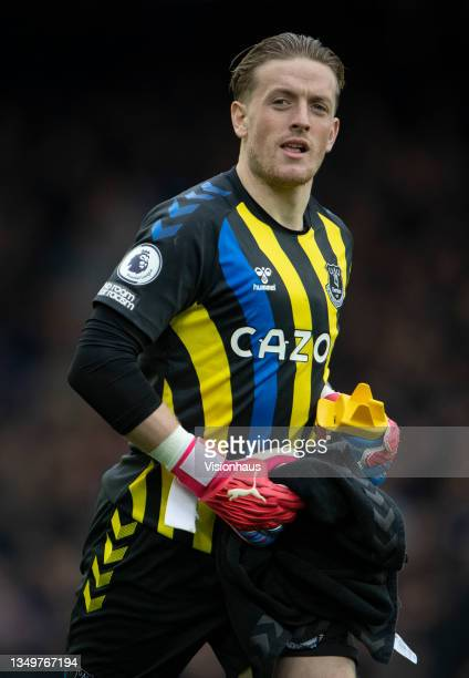 Everton goalkeeper Jordan Pickford during the Premier League match between Everton and Watford at Goodison Park on October 23, 2021 in Liverpool,...