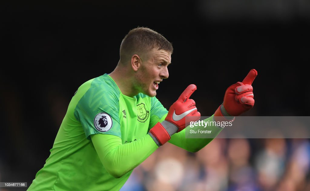 Everton goalkeeper Jordan Pickford reacts during the Premier League match between Everton FC and West Ham United at Goodison Park on September 16, 2018 in Liverpool, United Kingdom.