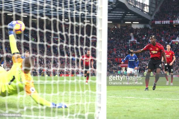 Everton goalkeeper Jordan Pickford saves the penalty of Paul Pogba of Man Utd during the Premier League match between Manchester United and Everton...
