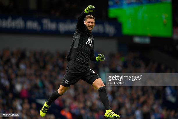 Everton goalkeeper Maarten Stekelenburg celebrates the opening Everton goal during the Premier League match between West Bromwich Albion and Everton...
