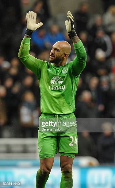 Everton Goalkeeper Tim Howard claps after winning the Barclays Premier League match between Newcastle United and Everton at StJames' Park on December...