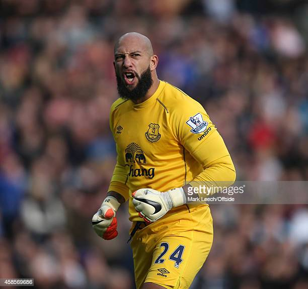Everton goalkeeper Tim Howard during the Barclays Premier League match between Burnley and Everton at Turf Moor on October 26 2014 in Burnley United...