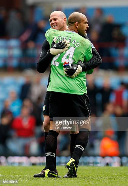 Everton goalkeeper Tim Howard embraces fellow USA keeper Brad Friedel after the Premier League match between Aston Villa and Everton at Villa Park on...