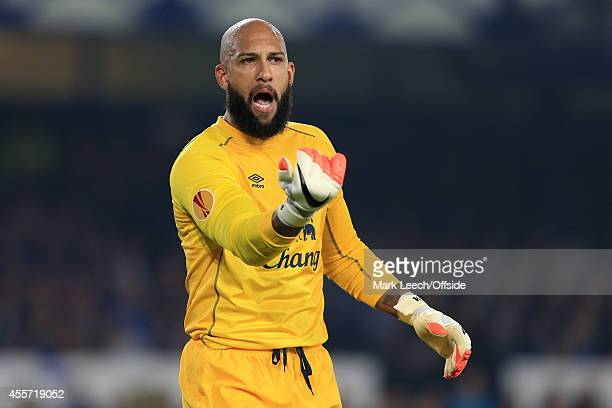 Everton goalkeeper Tim Howard gestures during the UEFA Europa League Group H match between Everton and VfL Wolfsburg at Goodison Park on September 18...