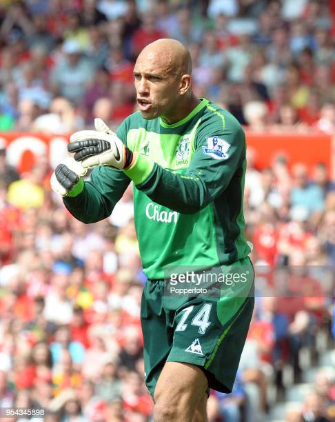 Everton goalkeeper Tim Howard in action during the Barclays Premier League match between Manchester United and Everton at Old Trafford on April 23...