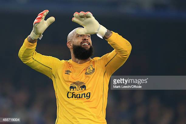 Everton goalkeeper Tim Howard reacts during the UEFA Europa League Group H match between Everton and VfL Wolfsburg at Goodison Park on September 18...