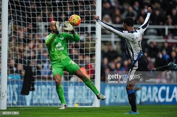 Everton Goalkeeper Tim Howard saves an attempt at goal from Newcastle's Georginio Wijnaldum during the Barclays Premier League match between...