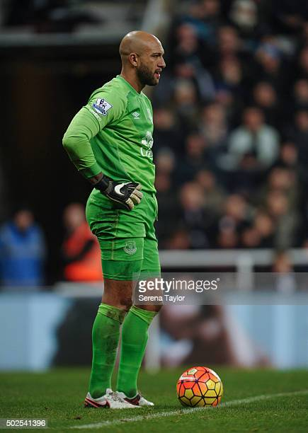 Everton Goalkeeper Tim Howard stands on the pitch with the ball on the ground during the Barclays Premier League match between Newcastle United and...