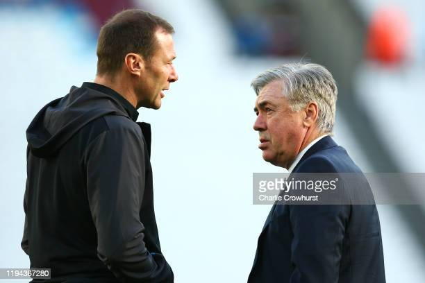 Everton Head Coach / Manager Carlo Ancelotti chats to Assistant Duncan Ferguson prior to the Premier League match between West Ham United and Everton...