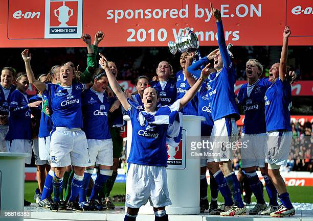 Everton Ladies celebrate after the Final of the FA Womens Cup, Sponsored by E.ON, between Arsenal and Everton at the City Ground on May 3, 2010 in...