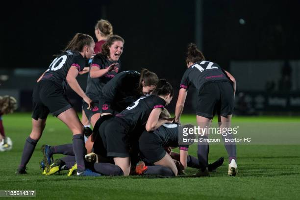 Everton Ladies celebrate goal by Hannah Cain during the WSL match against West Ham United Women at Rush Green on March 13 2019 in Romford England