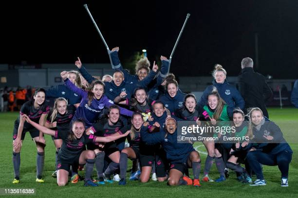 Everton Ladies celebrate their WSL win against West Ham United at Rush Green on March 13 2019 in Romford England
