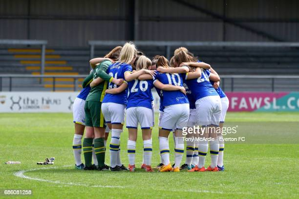 Everton Ladies embrace before the WSL 2 trophy after the WSL 2 match between London Bees and Everton Ladies at The Hive on May 20 2017 in Barnet...