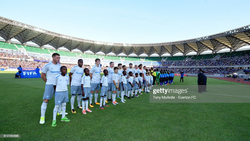 Everton line up before the pre-season match between Everton and Gor Mahia in Dar-Es-Salaam on July 12, 2017 in Tanzania.