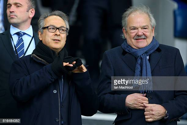 Everton major investor Farhad Moshiri and board member Jon Woods look on in the stand prior to the Barclays Premier League match between Everton and...