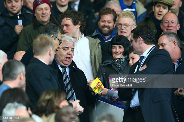 Everton major investor Farhad Moshiri and chairman Bill Kenwright are seen on the stand prior to the Emirates FA Cup sixth round match between...