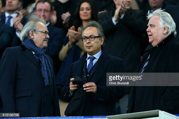 Everton major investor Farhad Moshiri and chairman Bill Kenwright seen on the stand prior to the Emirates FA Cup sixth round match between Everton...