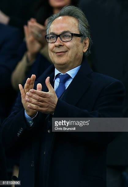 Everton major investor Farhad Moshiri is seen on the stand prior to the Emirates FA Cup sixth round match between Everton and Chelsea at Goodison...