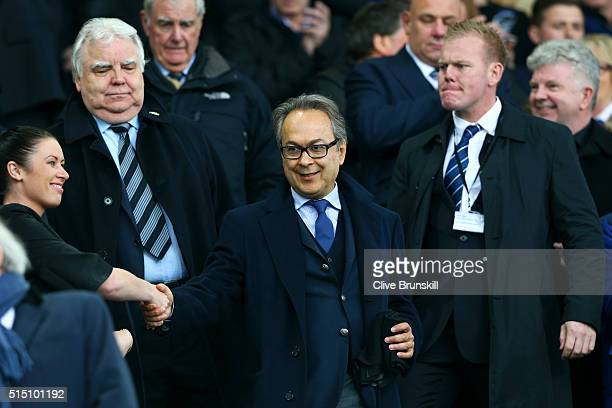 Everton major investor Farhad Moshiri shakes hands with a fan while chairman Bill Kenwright watches on the stand prior to the Emirates FA Cup sixth...