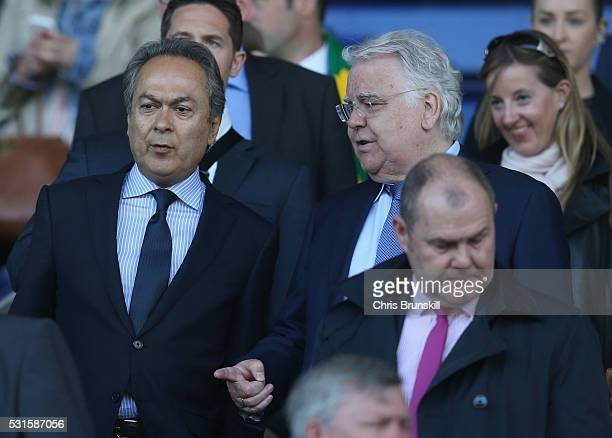 Everton majority shareholder Farhad Moshiri and chairman Bill Kenwright are seen on the stand the Barclays Premier League match between Everton and...