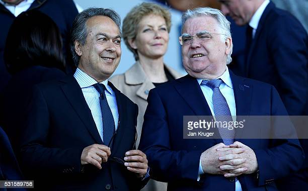 Everton majority shareholder Farhad Moshiri and chairman Bill Kenwright are seen on the stand during the Barclays Premier League match between...