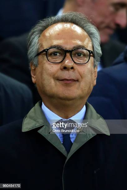 Everton majority shareholder Farhad Moshiri looks on during the Premier League match between Everton and Newcastle United at Goodison Park on April...