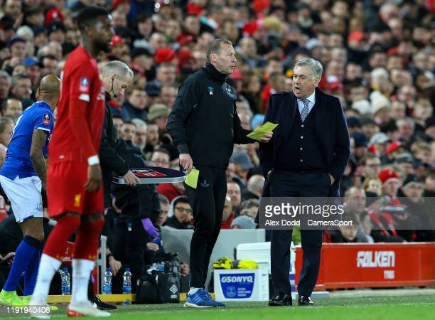 Everton manager Carlo Ancelotti and assistant Duncan Ferguson have a word during the FA Cup Third Round match between Liverpool and Everton at...