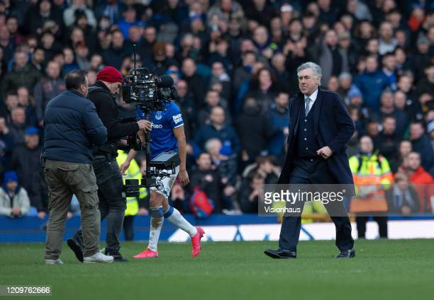 Everton manager Carlo Ancelotti is sent off after the Premier League match between Everton FC and Manchester United at Goodison Park on March 01 2020...