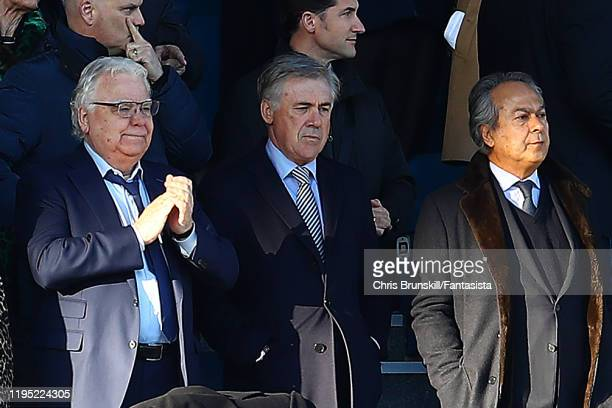 Everton manager Carlo Ancelotti looks on next to Bill Kenwright and Farhad Moshiri during the Premier League match between Everton FC and Arsenal FC...