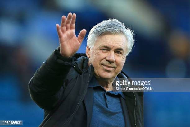 Everton manager Carlo Ancelotti waves after during the Premier League match between Everton and Wolverhampton Wanderers at Goodison Park on May 19,...