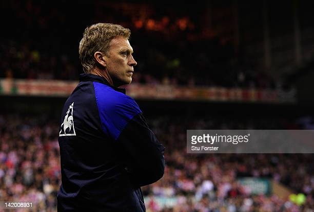 Everton manager David Moyes looks on before the FA Cup Sixth Round Replay between Sunderland and Everton at Stadium of Light on March 27 2012 in...