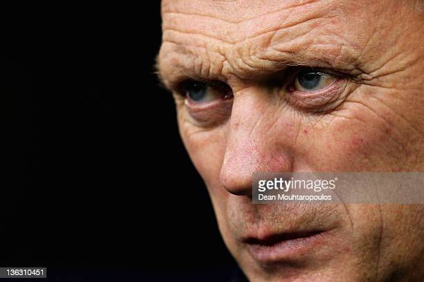 Everton Manager David Moyes looks on during the Barclays Premier League match between West Bromwich Albion and Everton at The Hawthorns on January 1...