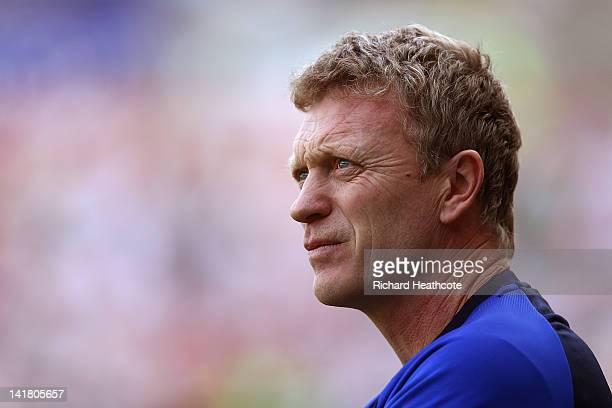 Everton Manager David Moyes looks on during the Barclays Premier League match between Swansea City and Everton at the Liberty Stadium on March 24...