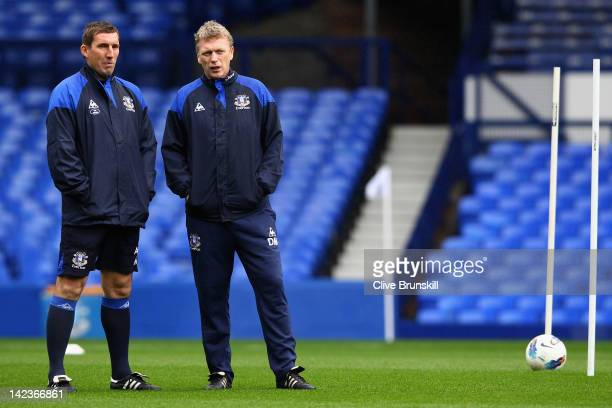 Everton manager David Moyes with Alan Stubbs during an Everton training session at Goodison Park on April 3 2012 in Liverpool England