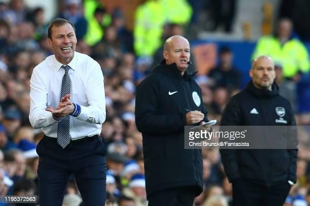 Everton manager Duncan Ferguson applauds from the touchline during the Premier League match between Everton FC and Arsenal FC at Goodison Park on...