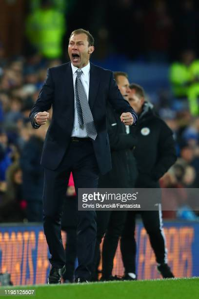 Everton manager Duncan Ferguson celebrates during the Carabao Cup Quarter Final match between Everton FC and Leicester FC at Goodison Park on...