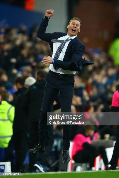Everton manager Duncan Ferguson celebrates his side's third goal during the Premier League match between Everton FC and Chelsea FC at Goodison Park...